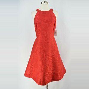 Calvin Klein • Red Floral Textured Halter Cocktail